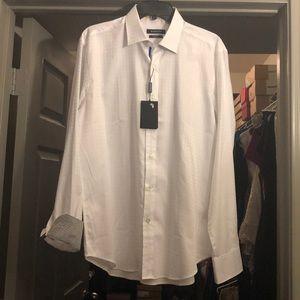New White long sleeve Bugatchi, shaped fit